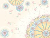 Art Deco,Pink Color,Flower,Antique,Blue,Retro Revival,Pastel Drawing,Pastel Colored,Backgrounds,Illustrations And Vector Art,Vector Backgrounds,Vector Ornaments,Decoration,Old-fashioned,Ornate,Yellow,Abstract