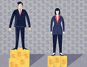 Corporate Business,Coin,Imbalance,Concepts & Topics,Formalwear,Standing,Finance,Vector,Editorial,Place of Work,Making Money,Men,Blue,Aspirations,Adult,Flat Design,Businessman,Wealth,Colors,Equality,Illustration,Wages,Females,Stack,Justice,Justice - Concept,Currency,Suit,Business,Prejudice,Variation,Ideas,Concepts