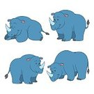 Zoo,cute animals,Set,Horned,Animal,Rhinoceros,Vector,Looking At Camera,Ilustration,Childhood,Young Animal,Mammal,Cartoon,Animals In The Wild