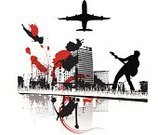 Urban Scene,City,Emo,Airplane,Vector,Town,Urban Skyline,Grunge,Hipster,Ilustration,Built Structure,Computer Graphic,Dirty,Design,Rock and Roll,Guitarist,Modern Rock,Musician,Building Exterior,Splattered,Digital Composite,Paint,Design Element,Spray,Black Color,Ink,Flying,Digitally Generated Image,Swirl,Office Building,Transportation,Office Buildings,Downtown District,Illustrations And Vector Art,Architecture And Buildings