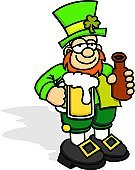 Leprechaun,Drunk,Beer - Alcohol,Beer Bottle,St. Patrick's Day,Cartoon,Clover,Beer Glass,Green Color,Shoe,Bottle,Hat,Buckle,People,Vector Cartoons,Holidays And Celebrations,Beard,Frothy Drink,Illustrations And Vector Art