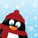 Design,Cold - Termperature,Friendship,Fun,Overweight,Clothing,New Year's Eve,Cheerful,Cute,Woven,Animals In The Wild,New Year,South Pole,Vector,Small,Snowflake,Red,Hat,Characters,Scarf,Nature,Cultures,White,Snow,New Year's Day,Ilustration,Penguin,Cartoon,Black Color,Bird,Antarctica,Christmas,Animal,Winter