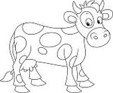 over white,Ilustration,cartoony,Cartoon,White Background,Isolated On White,Coloring Book,Humor,Toy,Vector,Mammal,Spotted Cow,Cow,Black And White,milk cow,Spotted,Animal,Livestock,Farm,Outline