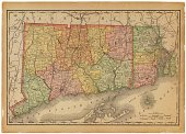 Connecticut,Map,Old-fashioned,Old,state,Close-up,Horizontal,Connecticut State,Studio Shot,Isolated On White,Connecticut Map,Antique,No People,Travel Locations,Single Object,International Border,Color Image,Paper