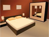 Bedroom,Bed,Hotel,Domestic Room,Furniture,Closet,Vector,Apartment,Modern,Indoors,Pillow,Home Interior,Ilustration,Duvet,Wood - Material,Flooring,Computer Graphic,Night Table,Comfortable,Electric Lamp,Blanket,Mirror,Night,Clean,Relaxation,Brown,bed-side,Architecture And Buildings,cushiony,Architectural Detail,Napping,Resting