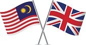 Banner,Vector,Sign,Malaysia,Pole,White Background,Isolated On White,Britain Flag,Malaysian Flag,Curve,Two Objects,Computer Icon,Symbol,British Flag,Small,Ilustration,Flag,Waving,UK,National Flag