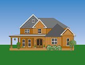 House,Mansion,Residential Structure,Flower Bed,Ilustration,Vector,Real Estate,Families,Architecture And Buildings,Lifestyle,Illustrations And Vector Art,Landscaped