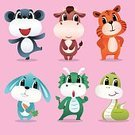 Rabbit - Animal,Painted Image,Characters,Symbol,Cheerful,Fun,Pink Color,Dragon,Cow,Tiger,Backgrounds,Isolated,Animal Themes,Rat,Snake,Green Color,Cute,Vector,Animals In The Wild,Cartoon,Ilustration,Set