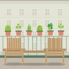 Decoration,Relaxation,Ilustration,Window,Patio,Wood - Material,Gardening,Vector,Computer Graphic,Furniture,Table,Outdoors,Lunch,No People,Chair,Balcony