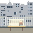 Balcony,Computer Graphic,Ilustration,Wood - Material,Book,Relaxation,Reading,Vector,Window,Outdoors,Hotel,Architecture,Domestic Room,Apartment,Furniture,No People