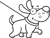 Cheerful,Leash,Happiness,Dog,Puppy,Pets,Walking,Small,Vector,Smiling,Pet Collar,Animal,Cartoon,Clip Art,Computer Graphic,Ilustration