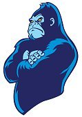 Gorilla,Arms Crossed,Pride,Animal Teeth,Symbol,Team,Biting,American Football - Sport,Animals In The Wild,Cartoon,Sports Team,Soccer,Fang,Anger,Power,Large,University,Sport,Animal Arm,Wildlife,Danger,Mascot,Organized Group,Ape,Isolated,Animal,Vector