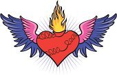 Sacred Heart,Heart Shape,Flame,Wing,Barbed Wire,Vector Ornaments,Religion,Illustrations And Vector Art,Concepts And Ideas,Exploding