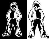 Hooded Shirt,Hip Hop,Funky,Grunge,Vector,One Person,Clip Art,Fashion,Men,White,Modern,Black And White,Black Color,Ilustration,City Life,Computer Graphic,Sketch