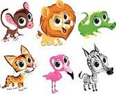 Animals In The Wild,Characters,Vector,African Descent,Animal,Cartoon,Humor,Remote,Family,Set,Young Animal,Cheerful,Mammal,Bird,Smiley Face,Childhood,Group Of Animals,Tigray,Mascot,Lion - Feline,Flamingo,Crocodile,Monkey,Ape,Zebra