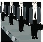 Repetition,Cloning,Conveyor Belt,Boredom,Occupation,Working,Businessman,Business,Standing Out From The Crowd,Individuality,Briefcase,Ilustration,Vector,Character Traits,Communication,Modern Life,Concepts And Ideas