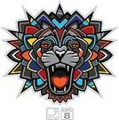 Vector,Indigenous Culture,Tiger,Undomesticated Cat,Animal Mouth,Furious,Animal Teeth,Animals In The Wild,Warning Sign,Multi Colored,Lion - Feline,Animal Head,Insignia,Fortune Telling,King,Danger,Coat Of Arms,Animal,Ethnic,Sign,Cultures