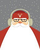 Red,Mustache,Humor,Greeting,People,Symbol,Snow,Male Beauty,Cute,Beard,Computer Graphic,Year,Christmas,Santa Claus,Men,Deer,Headphones,Copy Space,Fashion,Ilustration,Backgrounds,Vector