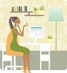 People,Business,Technology,Indoors,Domestic Room,Occupation,Looking,Working,Adult,Illustration,Comfortable,Women,Vector,Computer