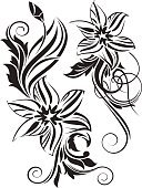 Vector,Silhouette,Black Color,Romance,Pattern,Swirl,Tattoo,Ornate,Symbol,Flower,Floral Pattern,Design,Design Element,Abstract,Decor