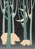 Animal,Snow,Moon,New Year's Day,New Year's Eve,Bear,Polar Bear,Tree,New Year,Forest,Season,Love,Celebration,Animals In The Wild,Vector,Christmas,Night,Cub,Cute,Mammal,Mother,White,Holiday,December,Snowflake,Winter,Cartoon,Snowing,Painted Image,Design