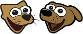 Dog,Domestic Cat,Pets,Cartoon,Cheerful,Animal,Happiness,Vector,Animal Head,Cute,Ilustration,Two Animals,Mouth Open,Feline,Part Of,Color Image,Illustrations And Vector Art,Cats,Animals And Pets,Dogs,Brown,Canine,Excitement,Isolated On White