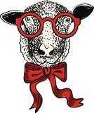 Fun,Sheep,Humor,Christmas,New,Hipster,Vector,Ilustration,Year,Eyeglasses,Animal Head,Bow,Old-fashioned,Art,Portrait,Pencil Drawing,White,Human Face,Tie,Human Hand,Drawing - Activity,Farm,Animal,Retro Revival,Design,Cheerful,Isolated,Style,Fashion,Happiness