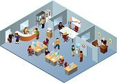 Office Interior,Isometric,People,Cubicle,Three-dimensional Shape,Desk,Computer,Working,Water Cooler,Vector,Occupation,Office Worker,Receptionist,High Angle View,Place of Work,Busy,The Human Body,Businessman,Computer Graphic,Job - Religious Figure,Businesswoman,Blue,Horizontal,Industry,Financial Chart,Business,Sales Department,People