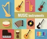 Collection,Music,Vector,Equipment,Sound,Image,Isolated,Set,Symbol,Accordion,Built Structure,Part Of,Bow,Design,Ilustration,Design Element,Organization,Red,Blue,Classic,Drum,Sign,Computer Graphic,Color Image,Drum,Guitar