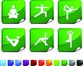Yoga,Exercising,Symbol,Relaxation Exercise,Computer Icon,Healthy Lifestyle,Stick Figure,Stretching,Lotus Position,Set,Vector,Design,Green Color,Black Color,Ilustration,Computer Graphic,Page Curl,Orange Color,Paper,Purple,Digitally Generated Image,Shiny,Red,Blue