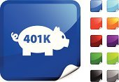 401k,Retirement,Piggy Bank,Symbol,Computer Icon,Savings,Label,Black Color,Orange Color,Blue,Bank Account,Green Color,Shiny,Finance,Design,Purple,Computer Graphic,Page Curl,Digitally Generated Image,Vector,Ilustration,Red