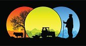 Farmer,Tractor,Agriculture,Cow,Silhouette,Field,Livestock,Vector,Mountain,Beef Cattle,Animal,People,Domestic Cattle,Agricultural Equipment,Landscape,Mountain Range,Working,Men,Backgrounds,Transportation,Ilustration,Circle,Highland Cattle,Agricultural Machinery,Winter,Driving,Tree,Non-Urban Scene,Pasture,Cultures,Grass,Cane,Nature,Green Color,Computer Graphic,Environment,Outdoors,Image,Flat Cap,Blue,Springtime,Season,Horned,Adult,Clear Sky,Mode of Transport,Beauty In Nature,Red,Summer,Agriculture,Industry,Setting,Farm Animals,Bright,Horizontal,Vibrant Color,Animals And Pets,People