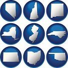 state,Outline,Interface Icons,Ohio,New Jersey,Oklahoma,Icon Set,North Carolina,Nevada,New York State,New Hampshire,Vector,Silhouette,USA,Blue,New Mexico,North Dakota,Vector Icons,Ilustration,Illustrations And Vector Art