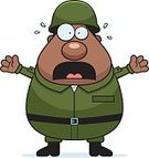 Army,African Descent,Military,Armed Forces,One Person,Shouting,Uniform,Screaming,Men,People,Work Helmet,Cartoon,Vector,Clip Art,Terrified,Computer Graphic,Fear,Ilustration