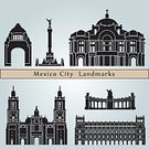 Mexico City,Building Exterior,Mexico,Isolated,Ilustration,Famous Place,Blue Background,Urban Scene,Silhouette,Cityscape,Monument,Black Color,Vector,Set,Isolated On Blue,Travel Destinations,Architecture,Travel,City