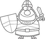 Cheerful,Happiness,Work Helmet,Computer Graphic,Clip Art,Vector,Suit of Armor,Cartoon,Heroes,Ilustration,Shield,Smiling,Sword,People,One Person,Knight,Men,Medieval,Warrior
