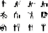 Auto Repair Shop,Car,Mechanic,Welding,Repairing,Welder,Spray Painter,Auto Mechanic,Tire,Cleaning,Icon Set,Stick Figure,People,Men,Occupation,Windshield,Exhaust Pipe,Examining,Information Symbol