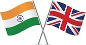 Banner,Vector,Sign,Curve,Pole,White Background,UK,Isolated On White,Indian Flag,Two Objects,Flag,Computer Icon,British Flag,National Flag,Symbol,Small,Waving,India,Ilustration,Britain Flag