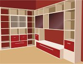 Closet,Cabinet,Shelf,Domestic Room,Bookshelf,Furniture,Wall,Vector,Home Interior,Indoors,Book,Lifestyles,Modern,No People,Front View,Outline,Ilustration,Simplicity,Backgrounds,Clean,Box - Container,Beautiful,Shiny,Pink Color,Architectural Detail,Architecture And Buildings,Square Shape,Red,Illustrations And Vector Art