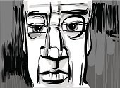 People,Human Face,One Person,Facial Expression,Ilustration,Old-fashioned,Men,Retro Revival,Expressionism,Cartoon,Adult,Pensive,Sketch,Art,Contemplation,Caricature,Human Eye,Vector,Characters,Drawing - Art Product,Creativity,Looking,Thinking
