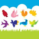 Bird,Cartoon,Flying,Animal,Cute,Springtime,Fun,Summer,Clip Art,Ilustration,Simplicity,Animal Themes,Cheerful,Wing,In A Row,Nature,Vibrant Color,No People,Multi Colored,Birds,Nature,Group Of Animals,Side By Side,Animals And Pets