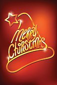 Gold,Star Shape,Happiness,Gold Colored,Red,Event,Christmas,New Year,Greeting,Party - Social Event,Metal,Shadow,Reflection,Vector,Backgrounds,Hat,Season,Ilustration,Holiday