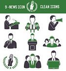 Teamwork,Businessman,Microphone,People,Vector,Green Color