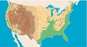 USA,Map,Unity,Topography,Cartography,River,Mountain,Vector,Physical Geography,Desert,Sea,continent,Plain,The Americas,View Into Land,Forest,Travel Locations,Illustrations And Vector Art