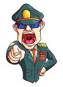 Army,War,Human Face,Men,Officer,Mascot,Ilustration,People,Hat,Red,Vector,Armed Forces,Sergeant