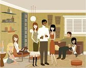 Living Room,People,Sitting,Party - Social Event,Sofa,Men,Vector,Furniture,Women,Standing,Alcohol,Ilustration,Happiness,Medium Group Of People,Slim,Window,Fun,Smiling