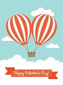 Couple,Cloud - Sky,Hot Air Balloon,Love,Ribbon,Flying,Red,Sky,Vector,Text,Flirting,Valentine's Day - Holiday,Greeting Card,Heart Shape,Romance,Dating
