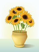 Sunflower,Vase,Table,Bouquet,Flower,Vector,Vitality,Springtime,Clip Art,Showing,Ilustration,Flower Head,Leaf,Flowers,Illustrations And Vector Art,Summer,Shadow,Beautiful,Yellow,Nature,Inspiration,Season,Beauty In Nature,Nature,Motivation,Decoration,Creativity