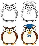 Mascot,Education,Image Type,Vector,Digitally Generated Image,Joy,Cheerful,Image,Design,Ilustration,Collection,Set,Eyeglasses,Multi Colored,Color Image,Owl,Clip Art,Paintings,Black And White,Smiling,Computer Graphic,Characters,Happiness,Animal,Bird,Fur,Drawing - Art Product,Cartoon,Painted Image,Hat,Isolated On White,Vector Cartoons,Humor,Illustrations And Vector Art,Fur
