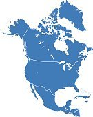 North America,Cartography,Map,Canada,USA,Mexico,Outline,Blue,Silhouette,Travel,Vector,Isolated,Country - Geographic Area,Costa Rica,Intricacy,Politics,Symbol,Concepts,Computer Graphic,Nicaragua,Shape,Alaska,Backgrounds,Abstract,Ilustration,North,The Americas,Cuba